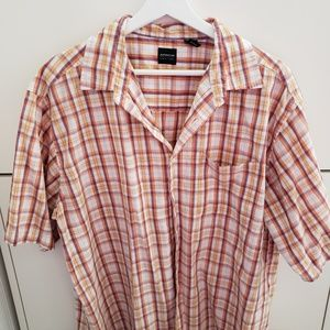 Plaid butto.down with shirt short sleeves